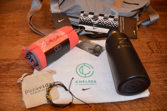My customized Swag Bag included a Nike gym bag, Nike headbands, a Purivida bracelet, a Zobha water bottle and a Chelsea Collective towel and gift card for the store.